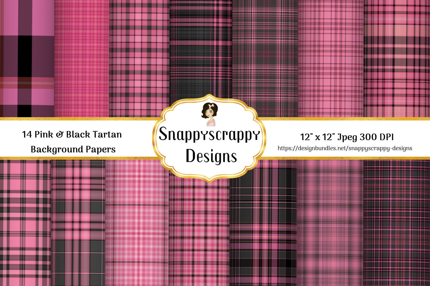 Pink and Black Tartan Background Papers example image 1