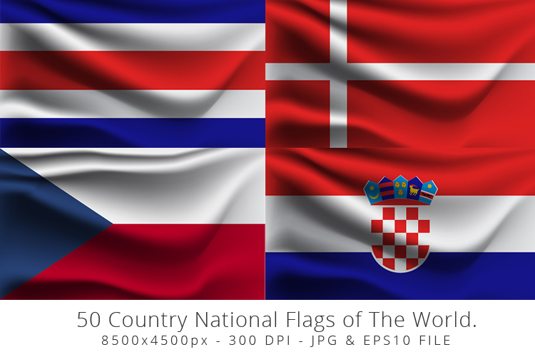 Realistic waving 50 Country National Flags of The World. example image 4