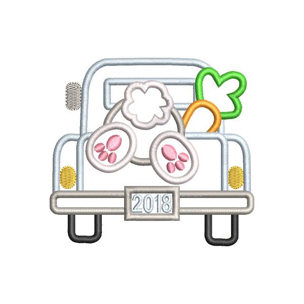 Bunny Truck Applique example image 1