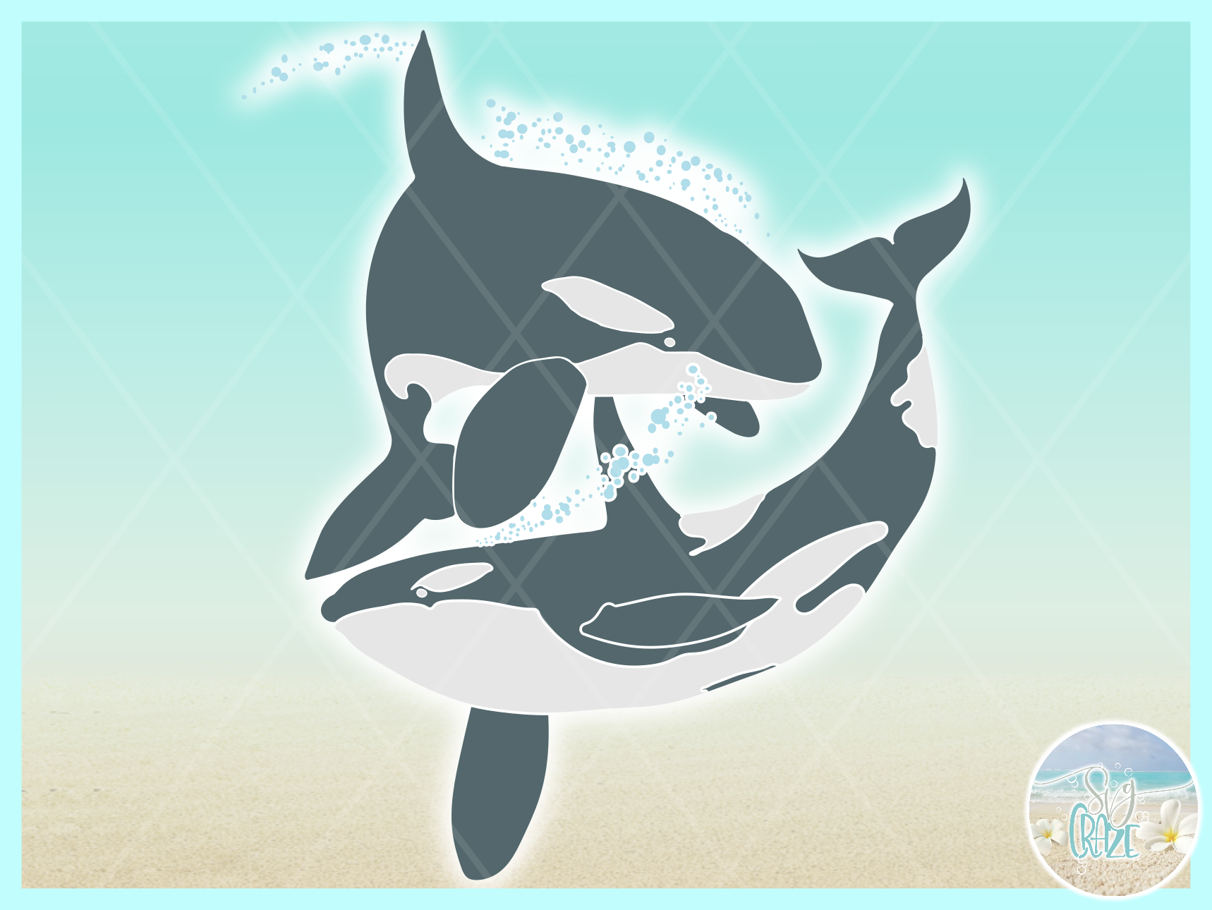 Orcas At Play Killer Whale Nautical Ocean Animal SVG example image 2