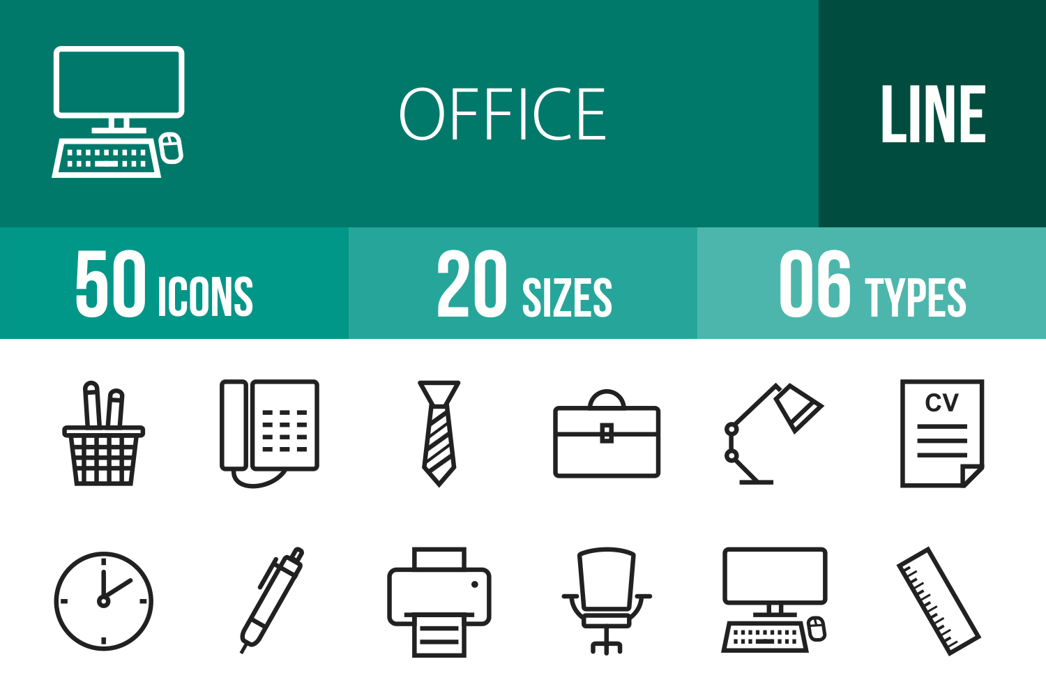 50 Office Line Icons example image 1