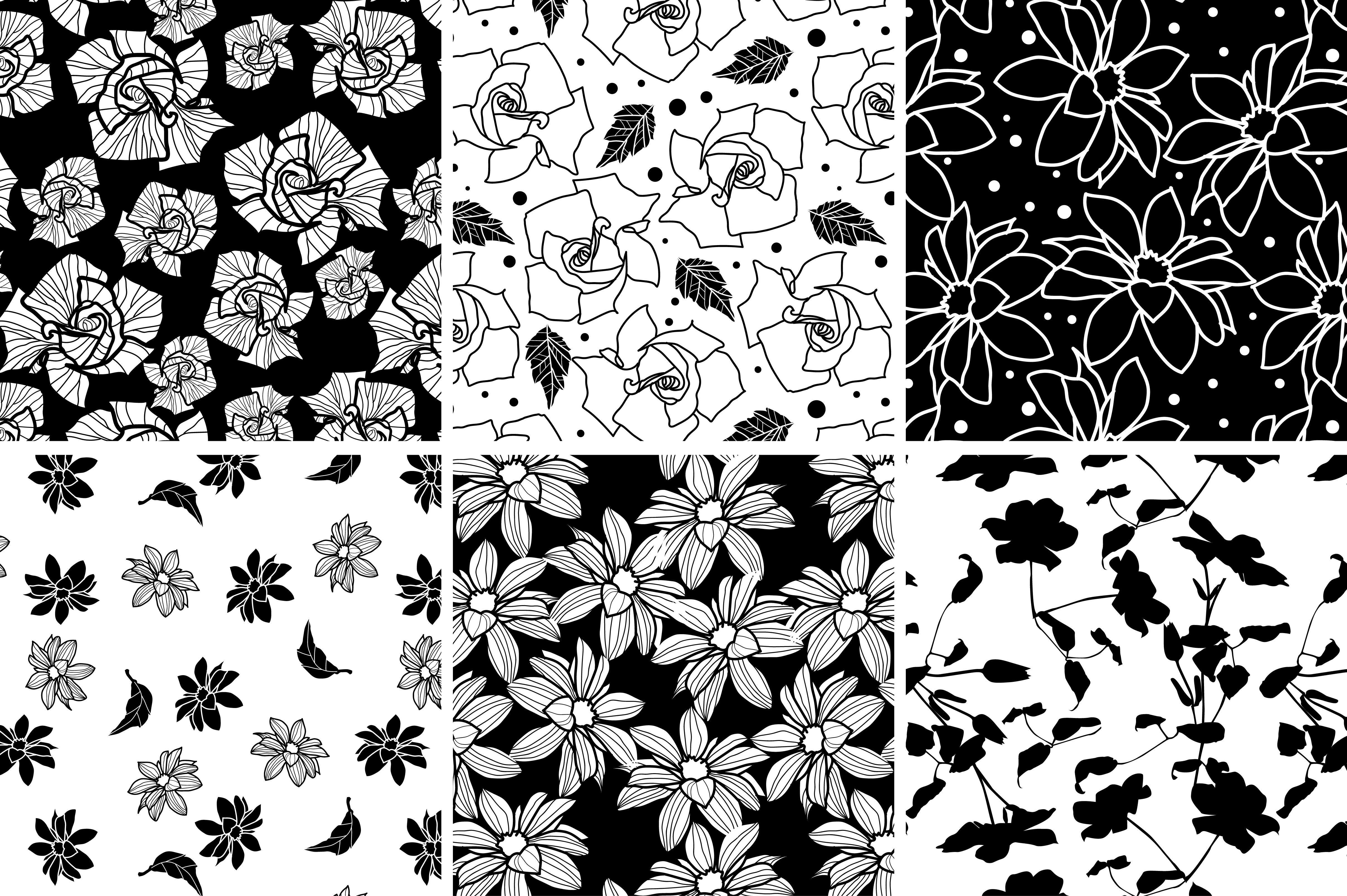 Black And White Plants Patterns