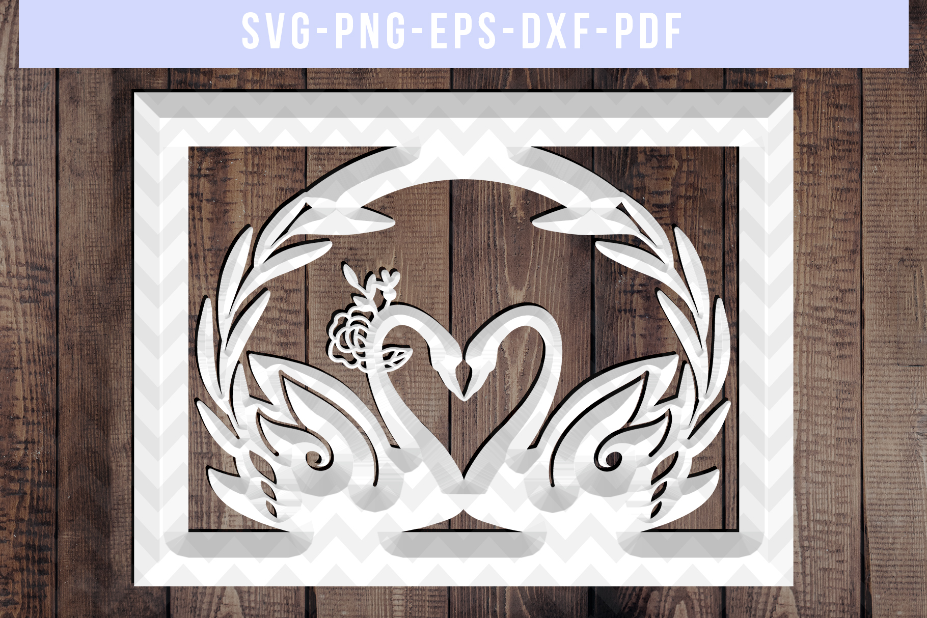 Wedding Swan Frame Papercut Template, Couple SVG, DXF, PDF example image 3