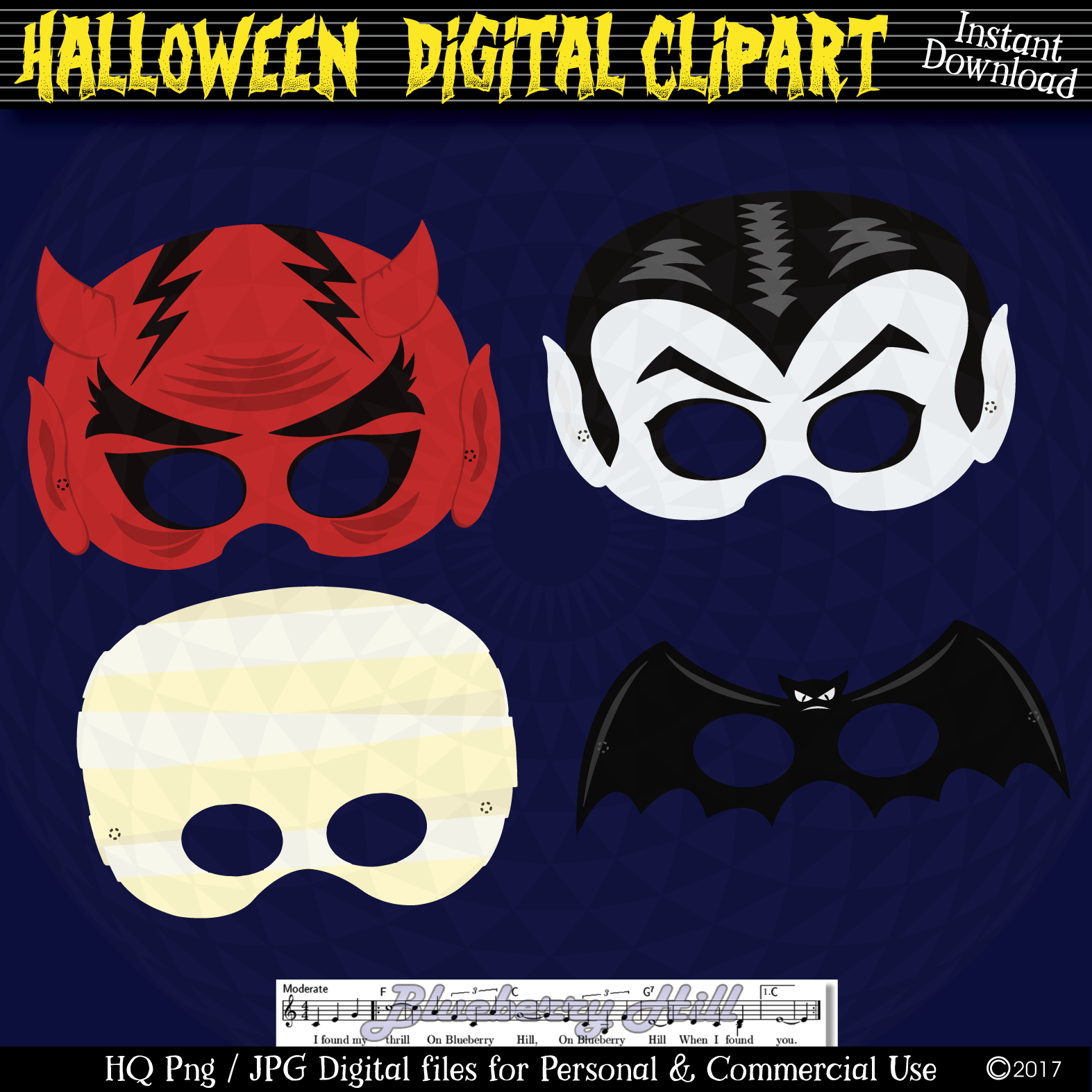 Halloween Party Masks printable, DIY Halloween Digital Clip example image 1