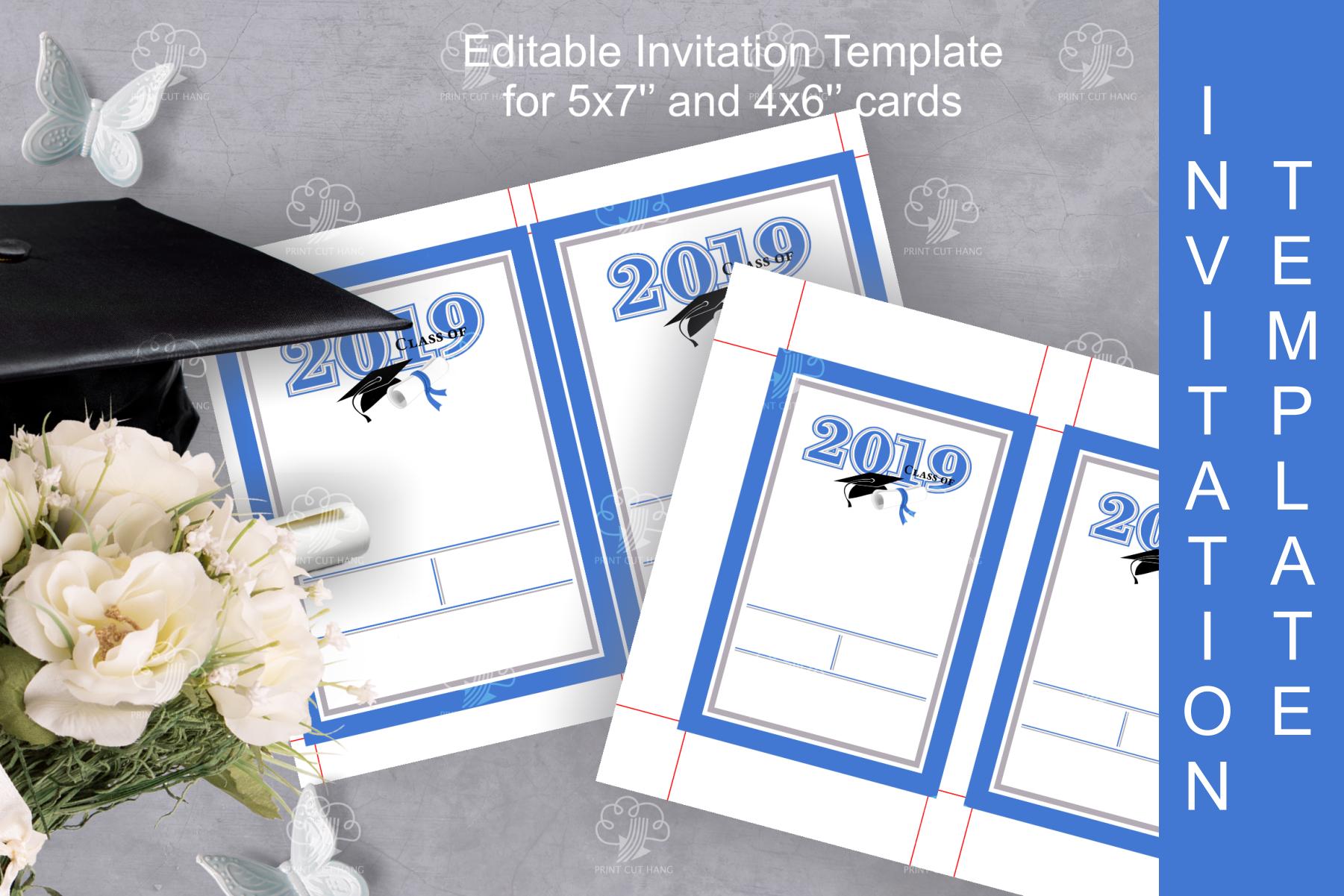 Invitation Template editable text - BLUE - Graduation 2019 example image 3