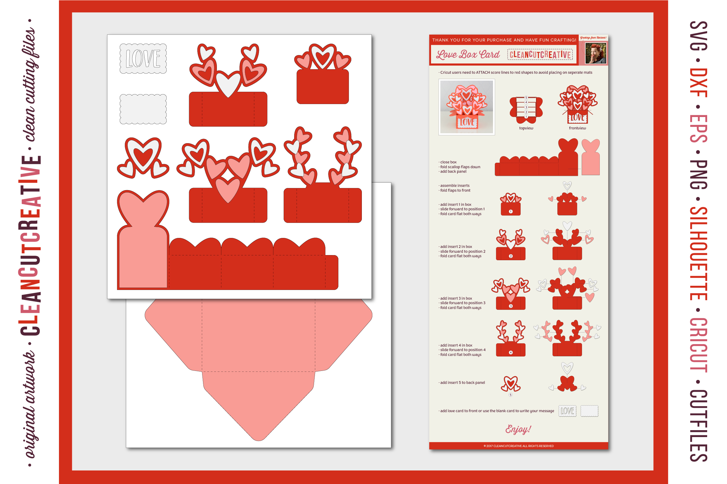 Love Box Card Valentine Card in a Box with cute hearts - SVG DXF EPS PNG - for Cricut & Silhouette - clean cutting files example image 5