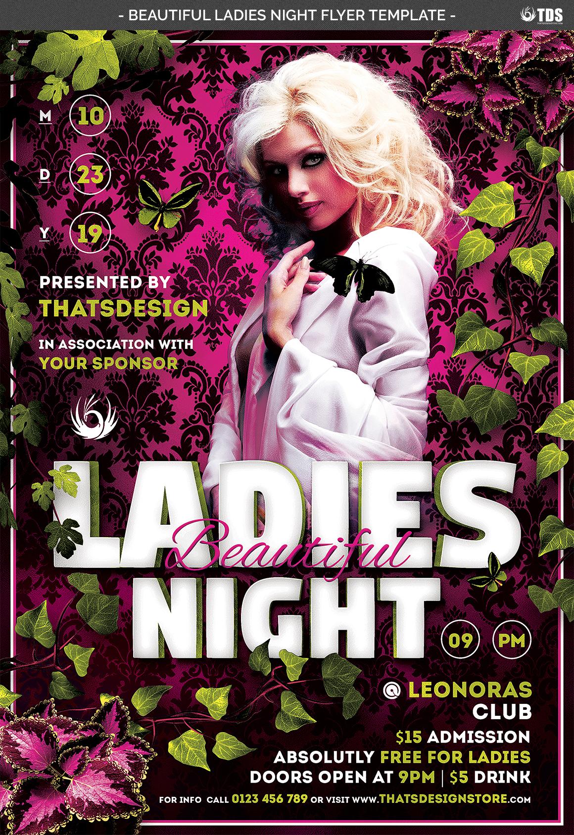 Beautiful Ladies Night Flyer Template example image 4