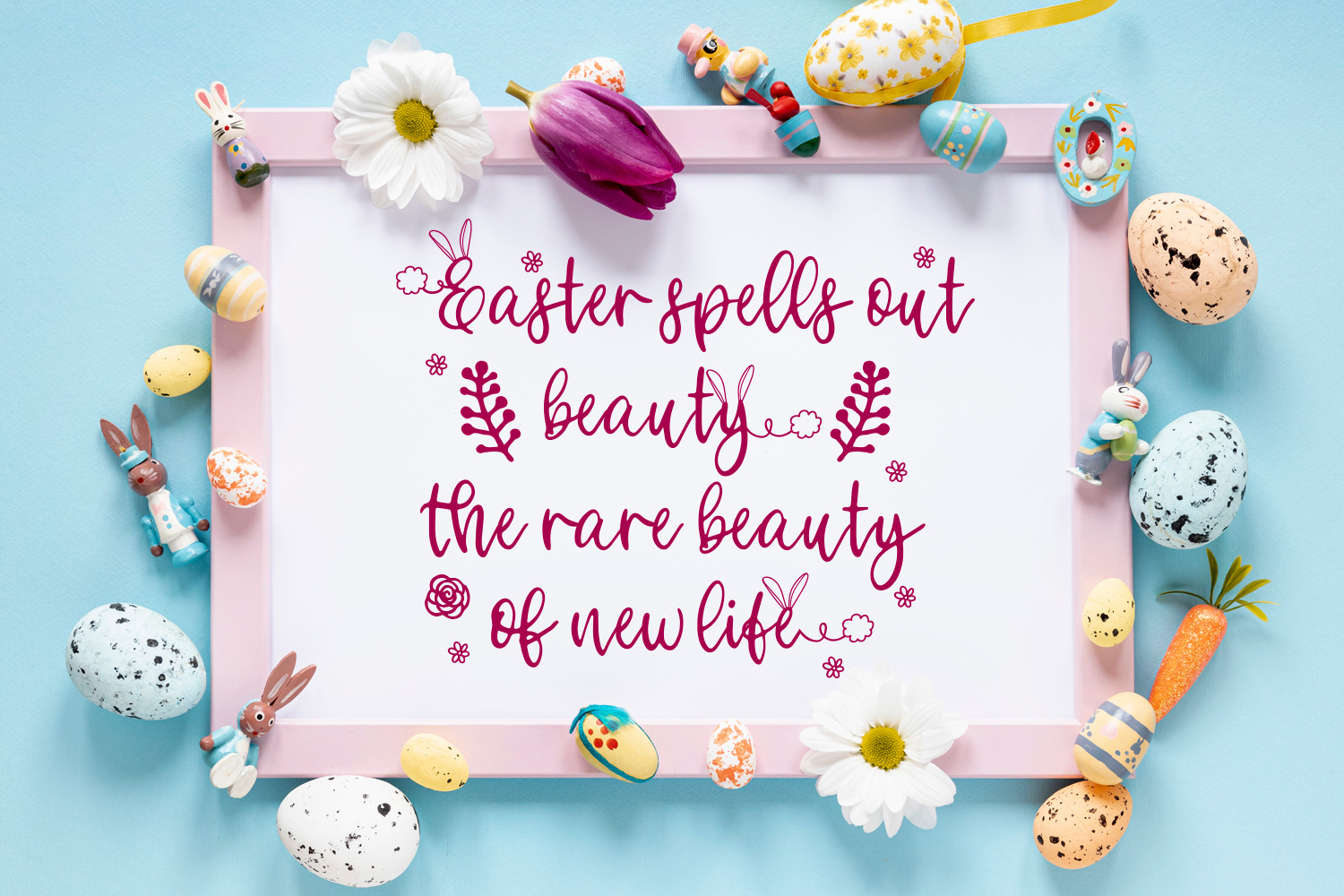 Bunny Tail - An Easter script font with doodles example image 6