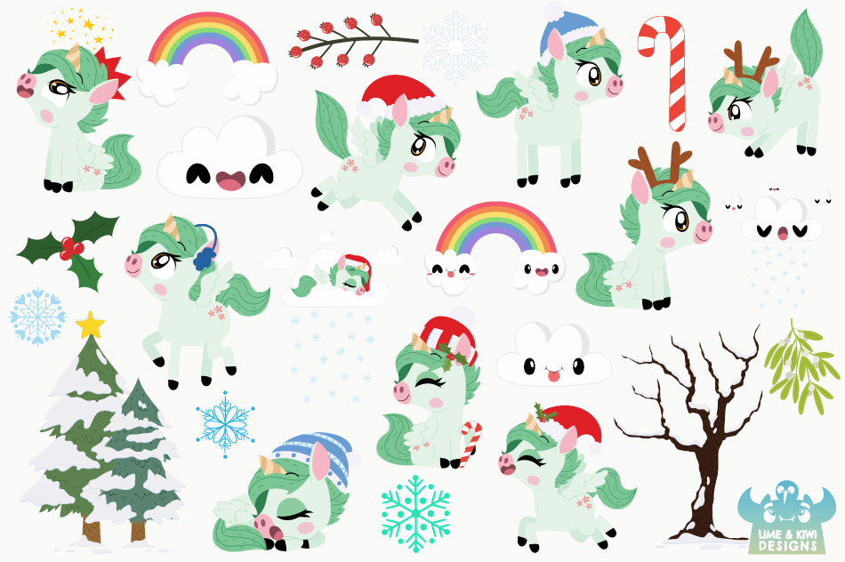 Christmas Unicorns 2 Clipart, Instant Download Vector Art example image 2