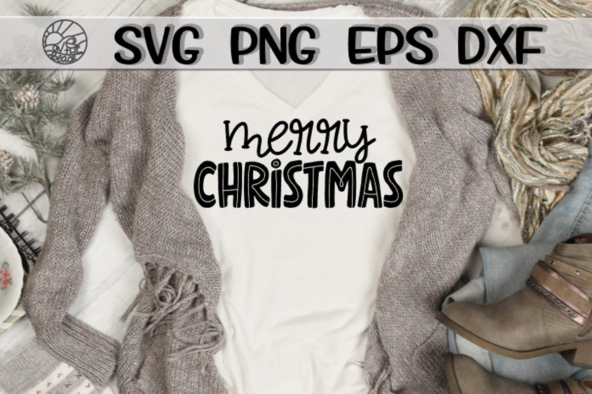 Merry Christmas - Doodle - SVG PNG EPS DXF example image 1