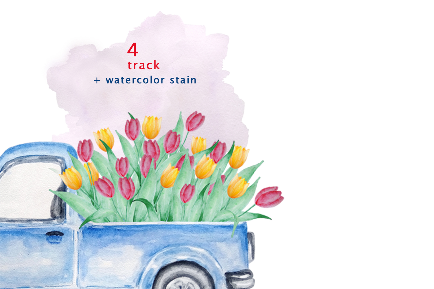 Watercolor Blue Track Clipart example image 6