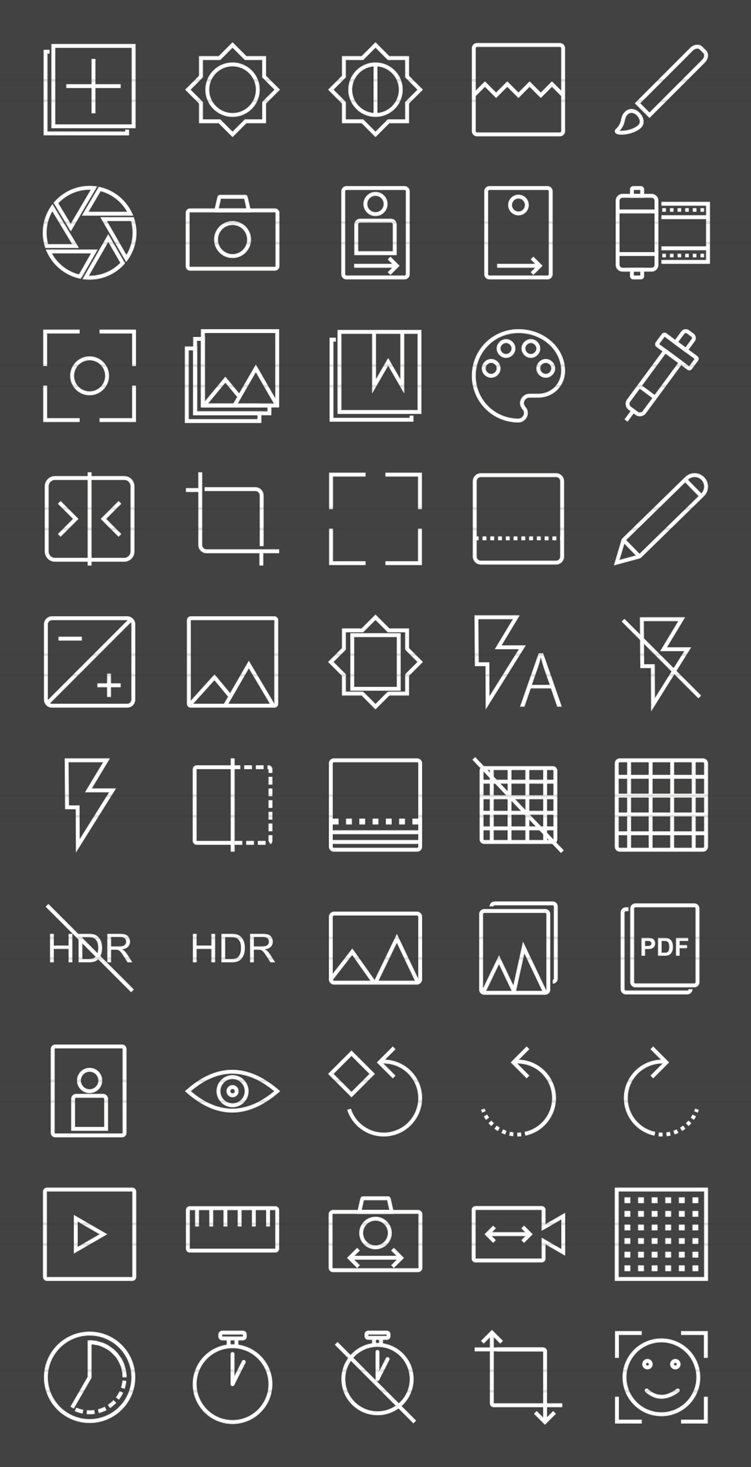 50 Picture Editing Line Inverted Icons example image 2