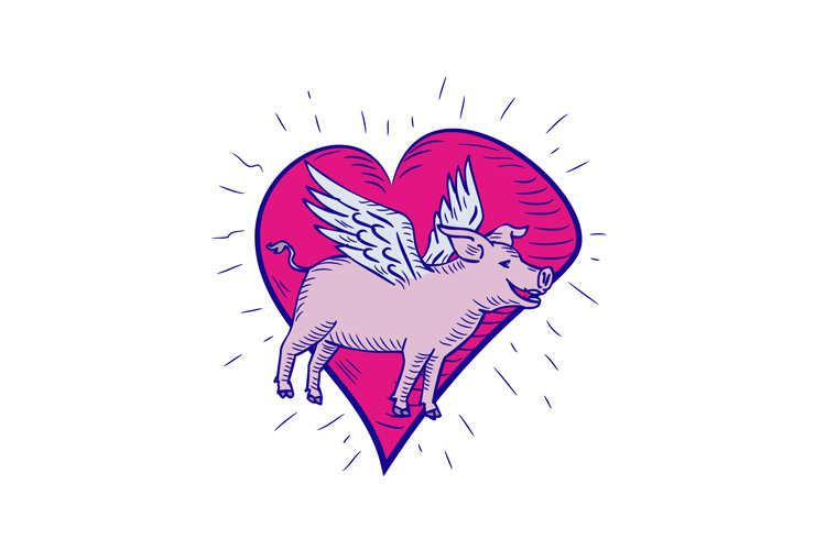 Pig With Wings Flying Heart Doodle example image 1