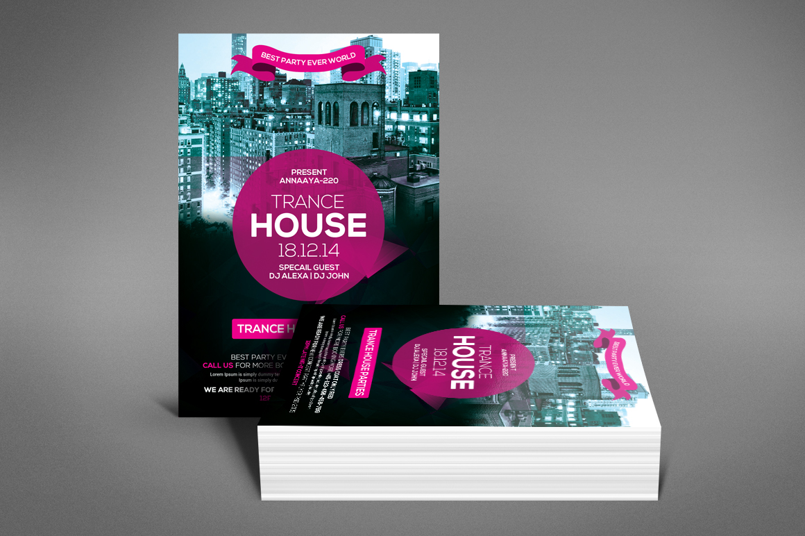 Trance House Party Flyer example image 4