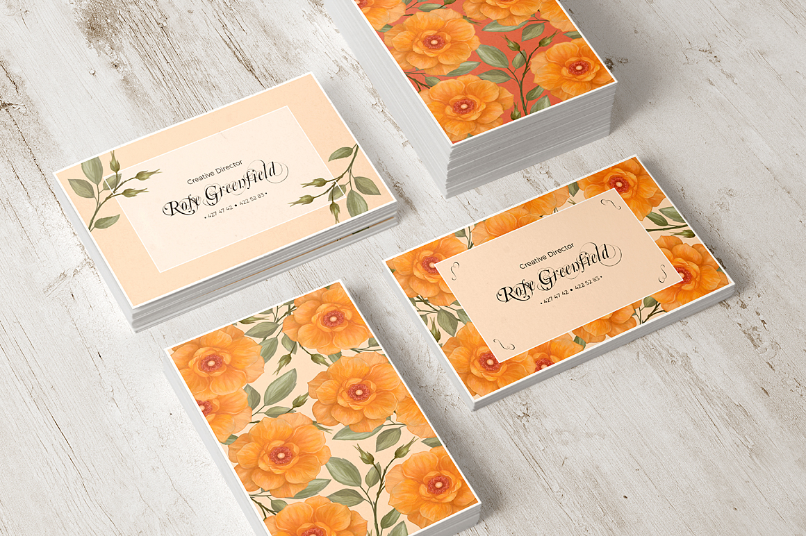 Peach Wild Rose Business Card Template example image 5