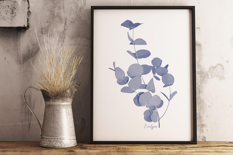 Pretty Indigo Blue Printable Kitchen Garden Herbs Art Prints example image 3