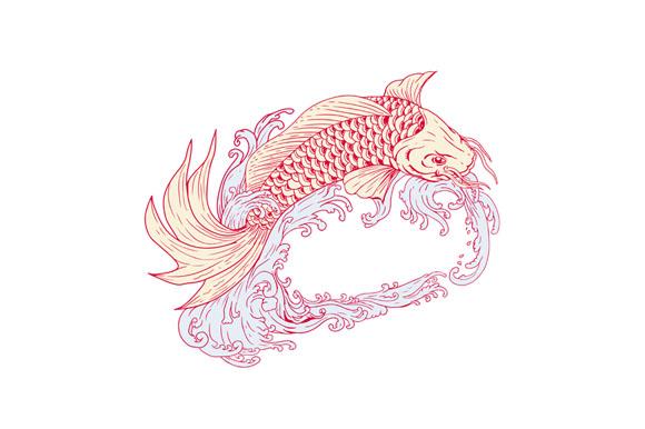 Nishikigoi Koi Jumping Waves Drawing example image 1
