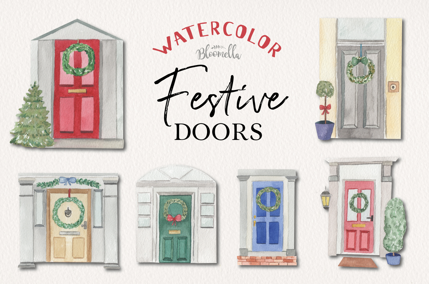 Festive Door Elements Watercolor Bushes Christmas Holidays example image 1