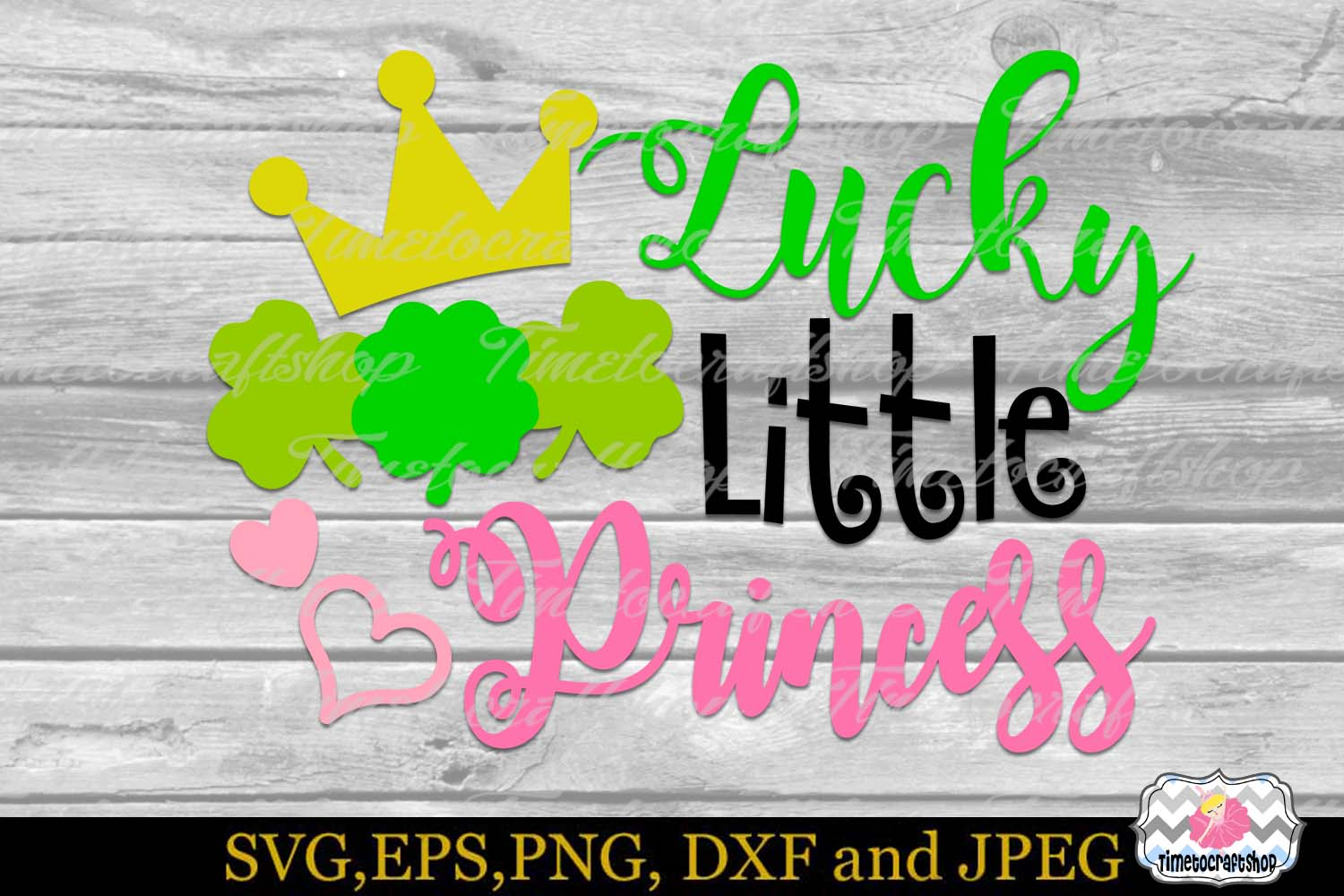 SVG, DXF, PNG, and EPS St Patricks Day Lucky Little Princess example image 2