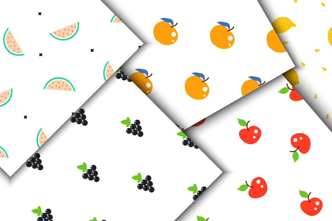 Fresh Fruits - Seamless Patterns example image 3