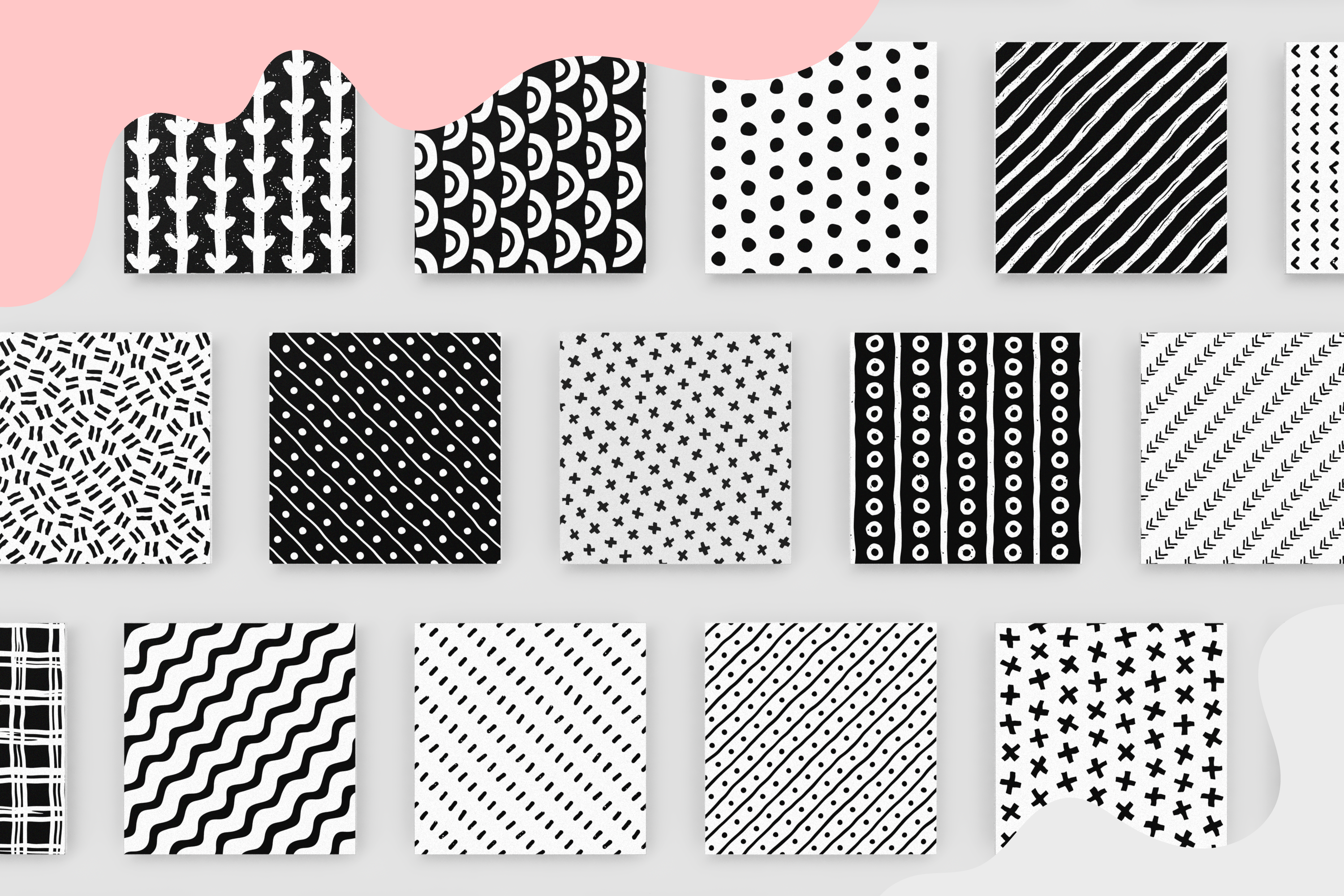 100 Hand-drawn seamless patterns collection example image 19