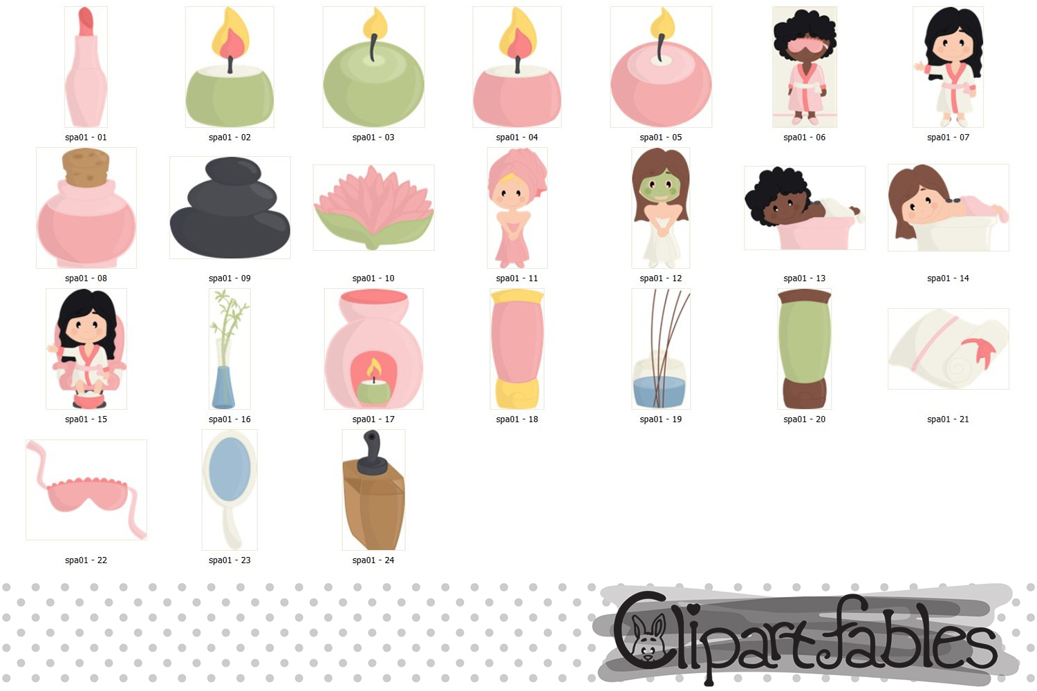 SPA clipart, Beauty salon, Spa birthday - INSTANT download example image 2