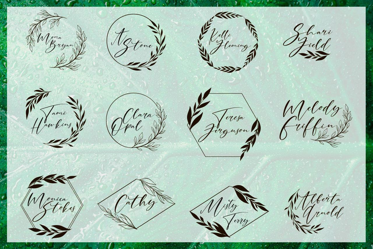 Cathia Script Font & Logos example image 6