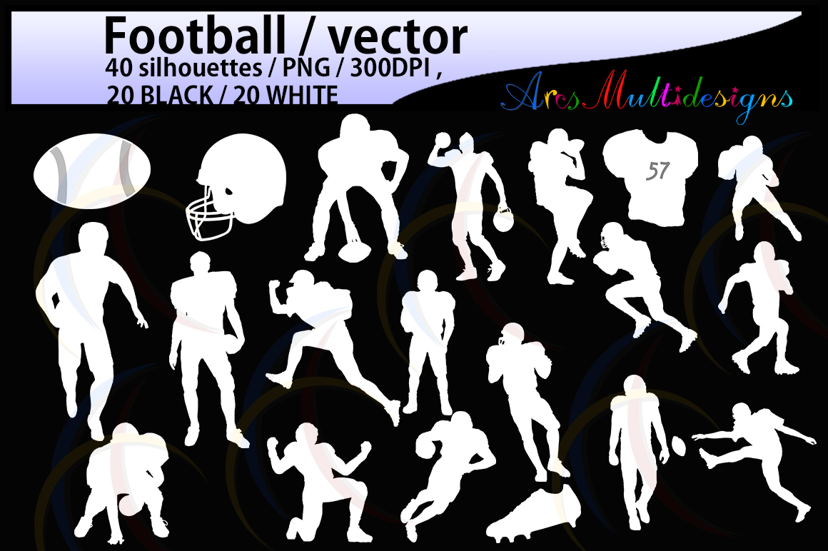 20B+20W football / football silhouette / High Quality /digital clipart / EPS / SVG /football players silhouette / game PNg file / DXF file example image 2