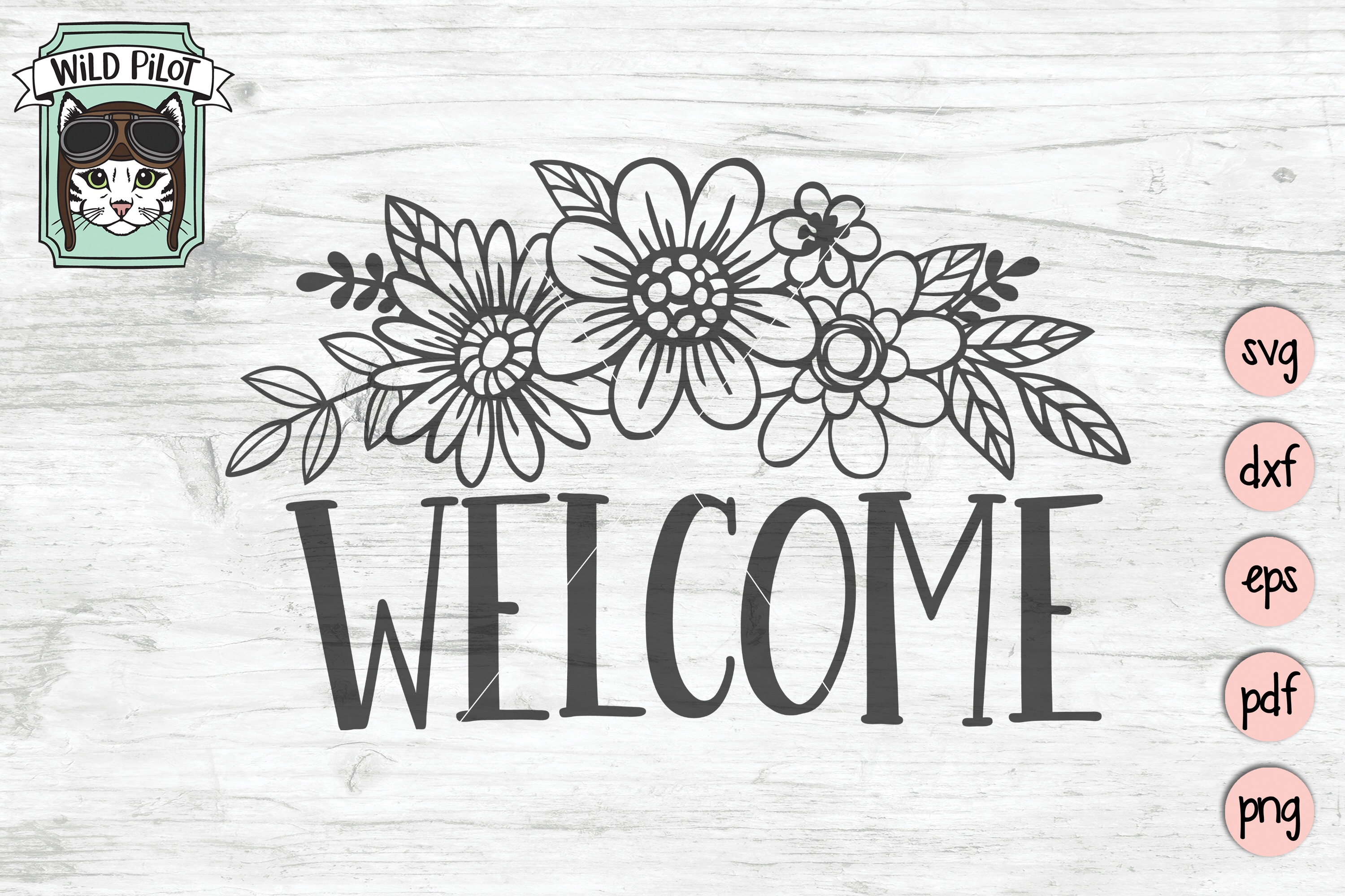 Welcome Sign SVG file, Floral Welcome, Flower Welcome sign example image 2