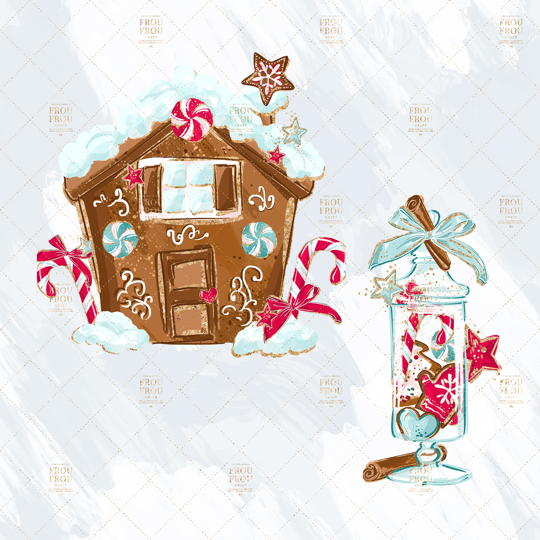 Christmas Winter Ginger Bread Sugar Cane Clip Art example image 5