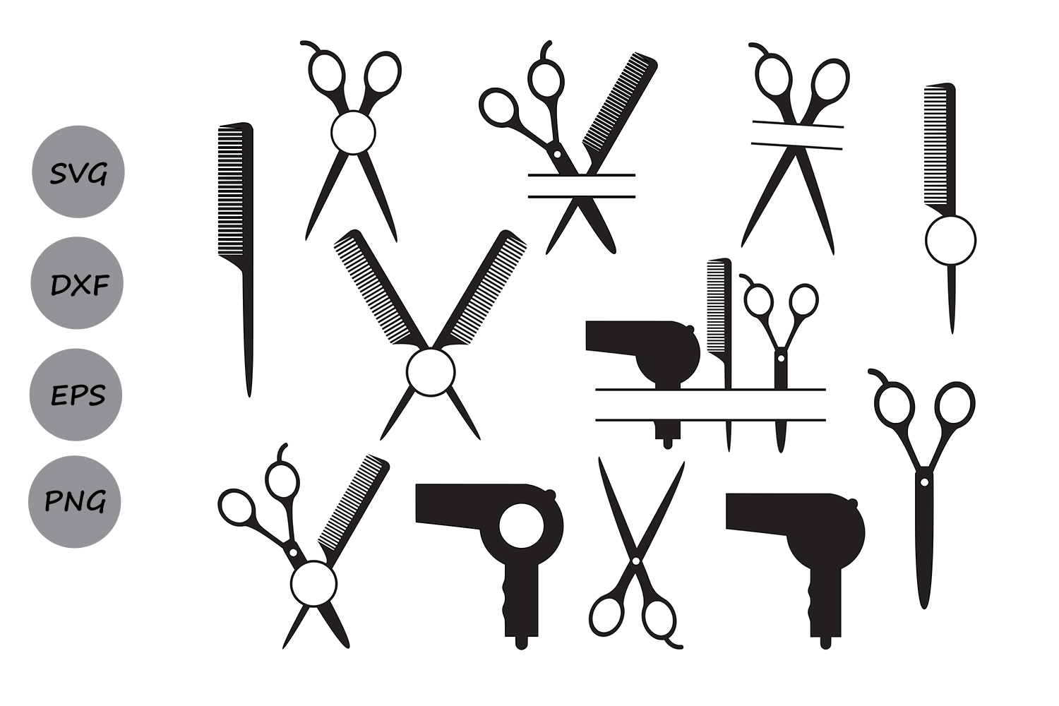 Hairdresser SVG Cut Files, Hairstylist SVG, Hairdresser Monogram SVG,  Hairdresser Scissors Svg, Dxf, Svg, Silhouette Svg, Commercial Use