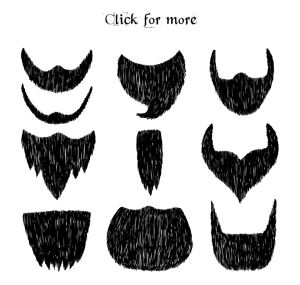 Hand drawn Beards and mustaches example image 3