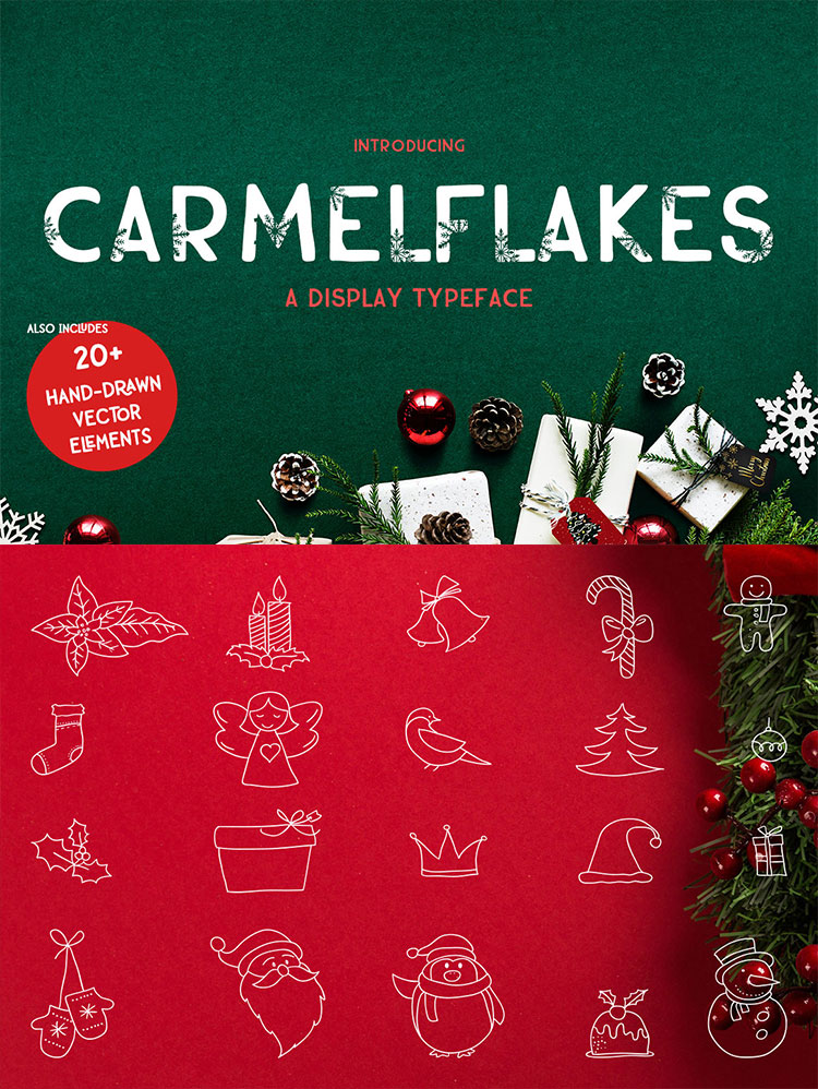 Carmelflakes Christmas Font & Doodles example image 3
