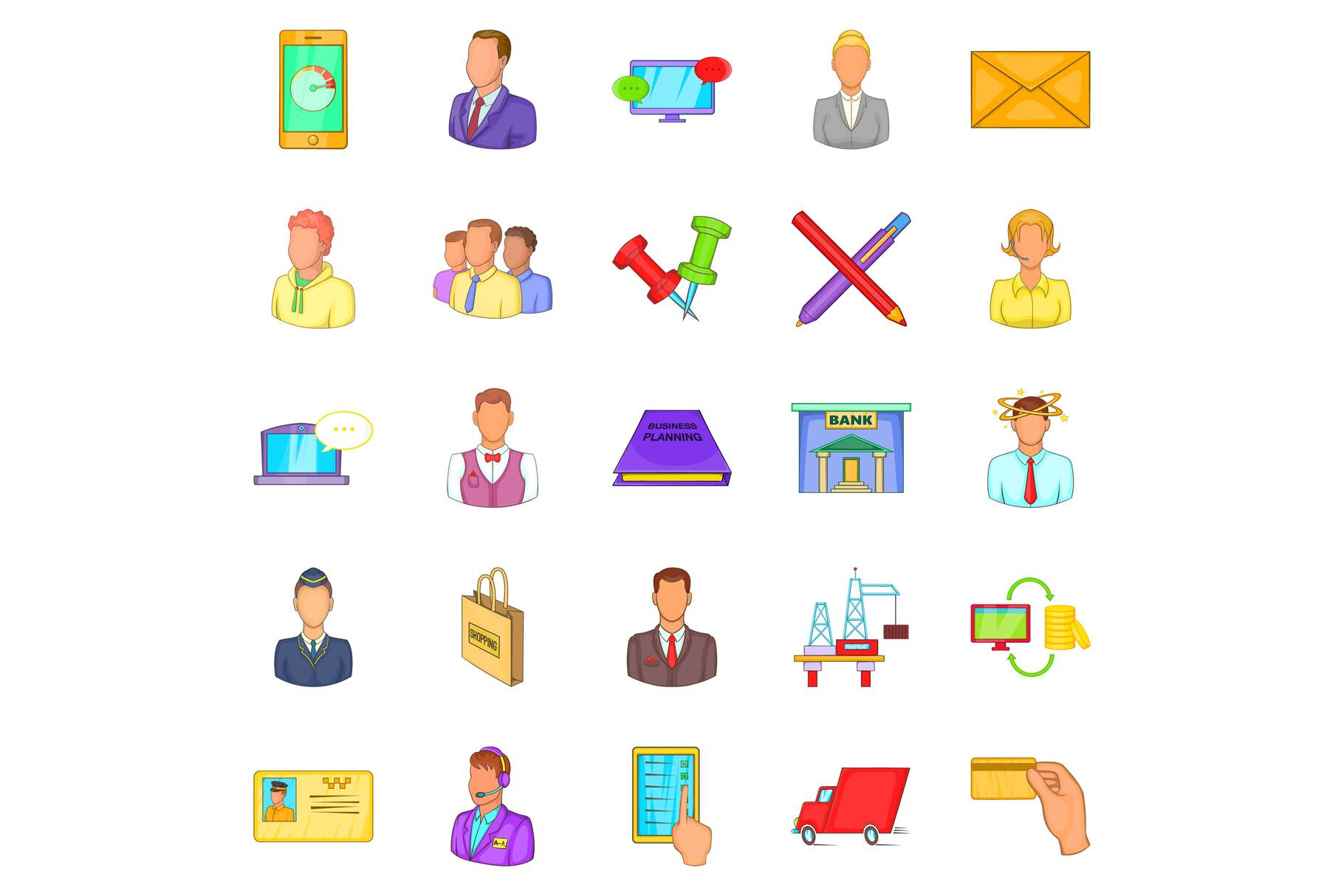 Business process icons set, cartoon style example image 1