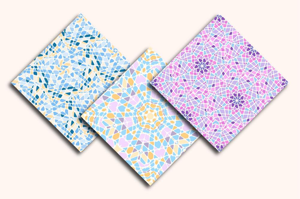Mosaic seamless patterns. Mini-set. example image 2