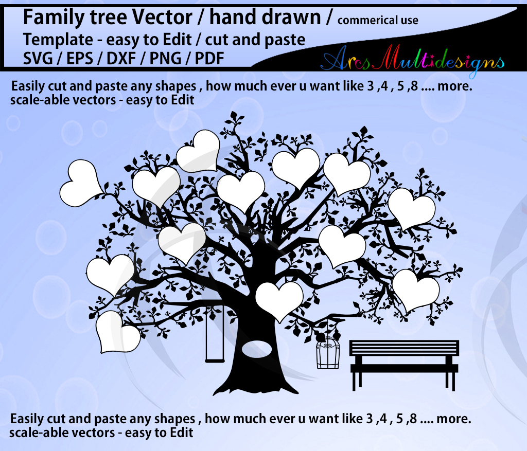 family tree clipart SVG template, EPS, Dxf, Png, Pdf, Jpg /family tree silhouette /hand drawn tree svg vector / Commerical & personal use example image 4