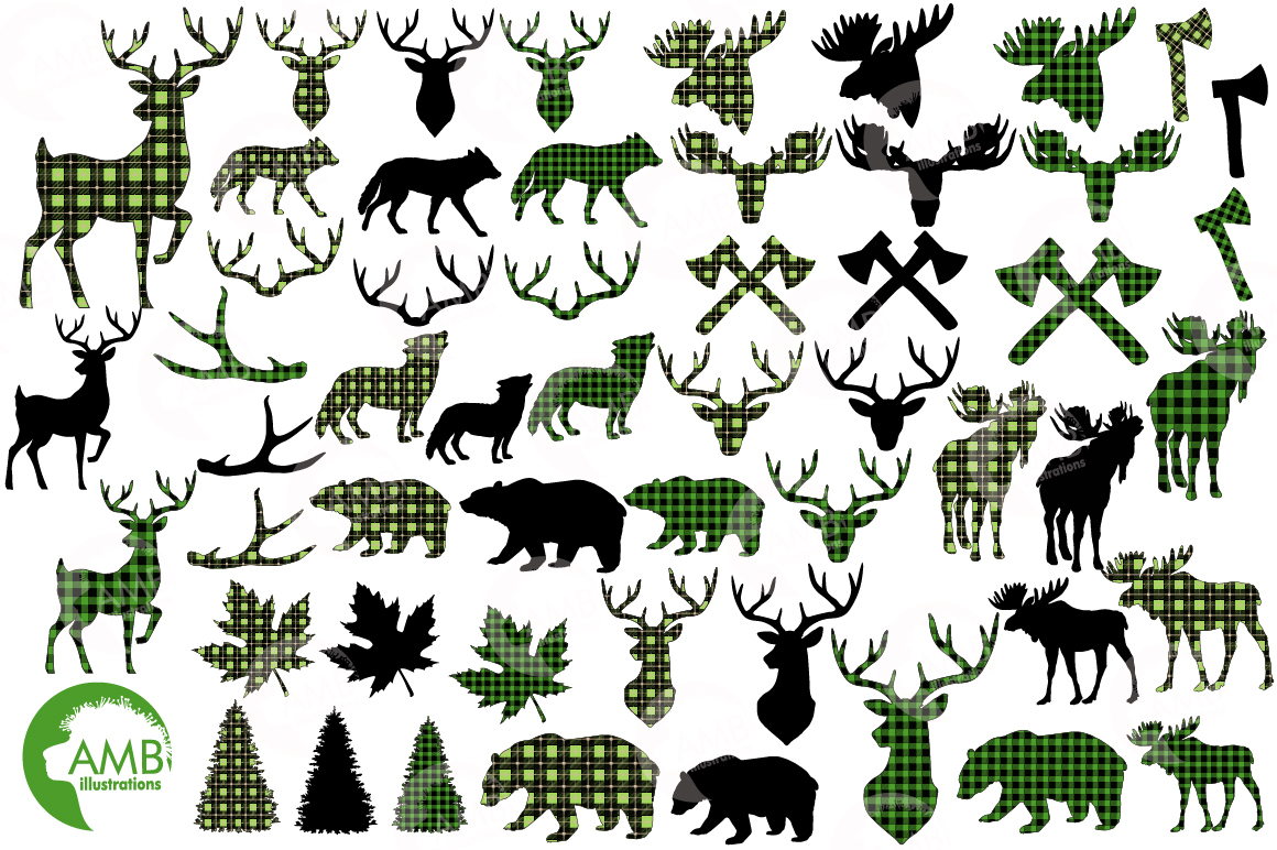 Lumberjack clipart, Green Buffalo plaid, Forest animal silhouettes graphic, illustration, AMB-2360 example image 5