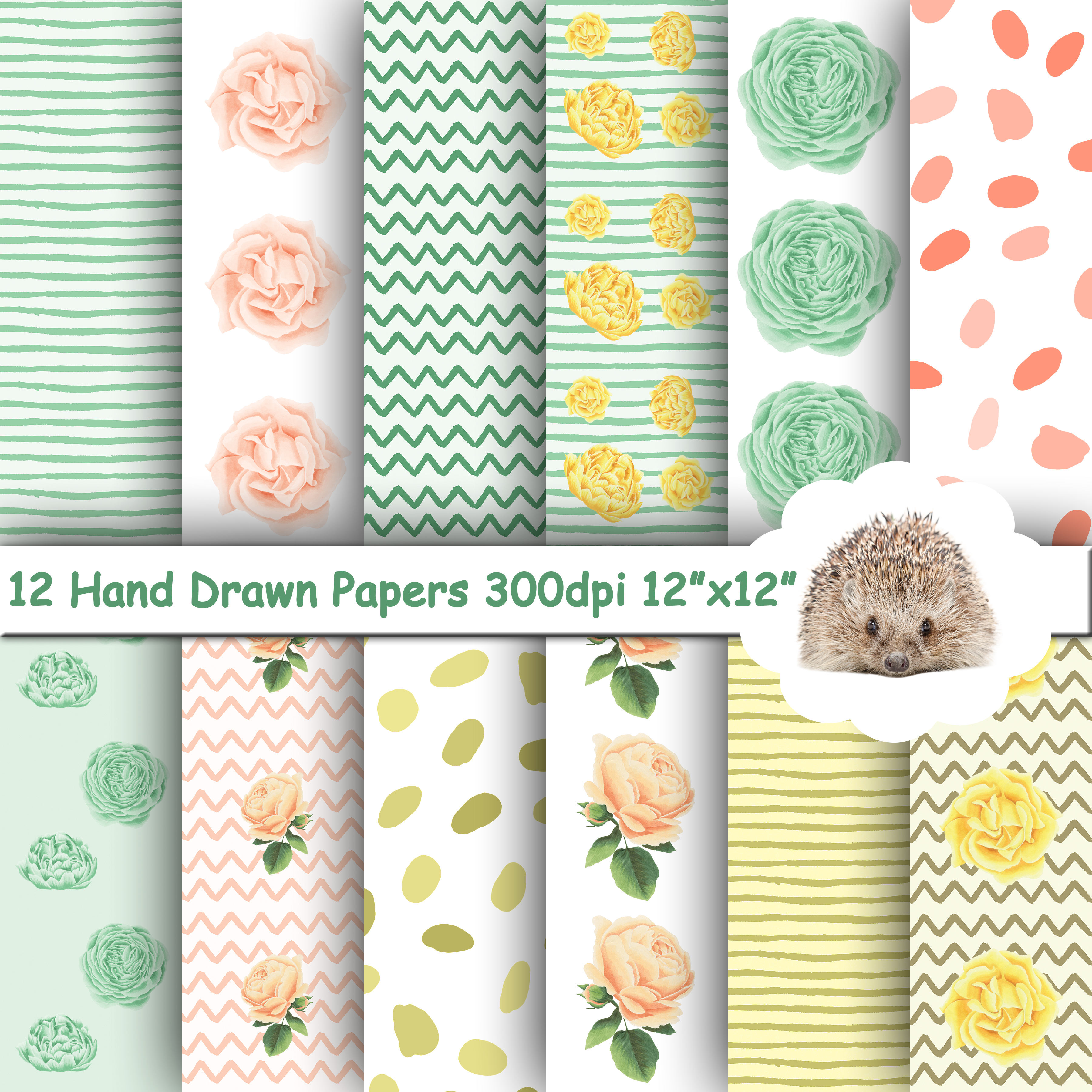 12 Hand Drawn Patterns and Roses Papers / Backgrounds example image 1