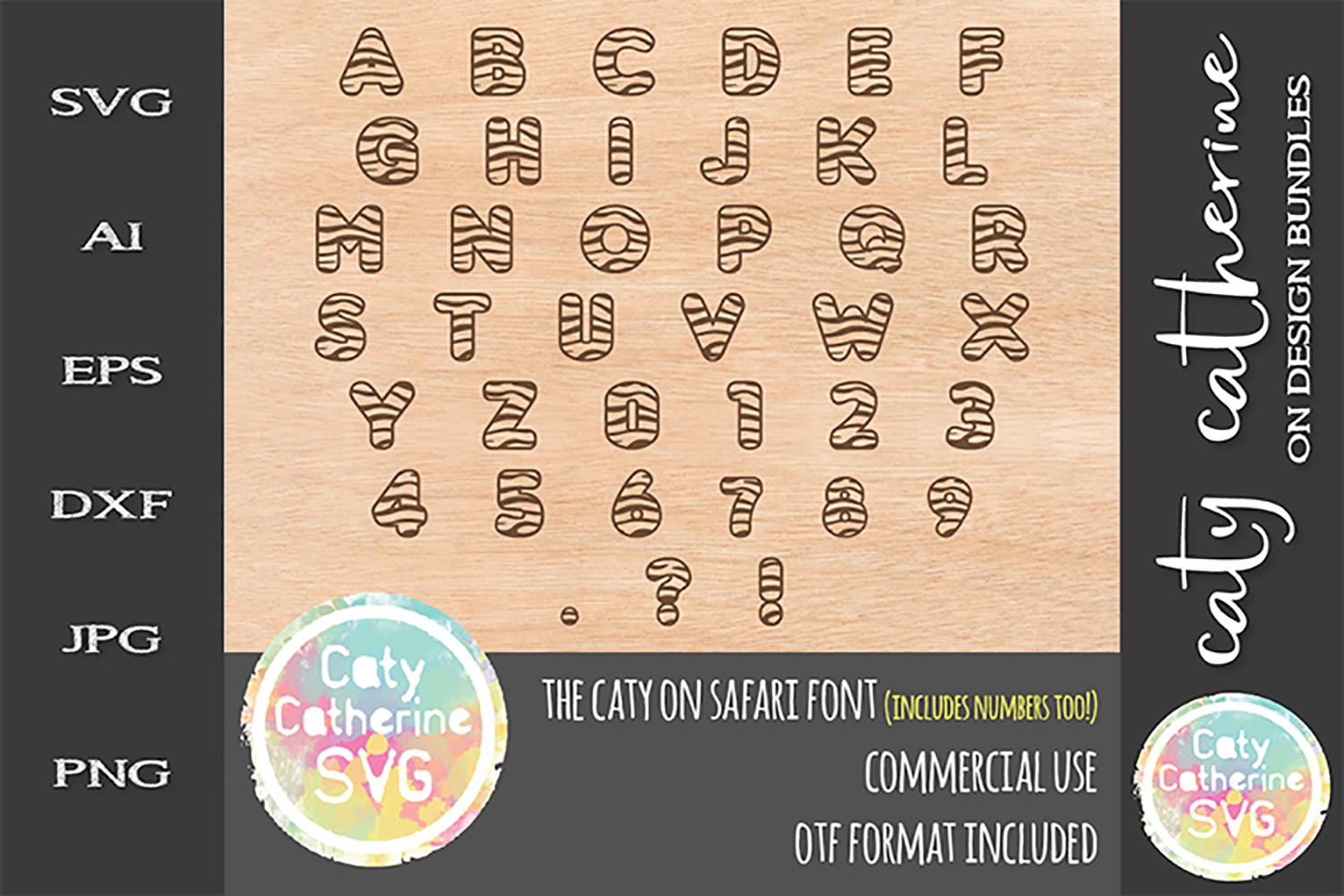 Caty On Safari Font Tiger Print Jungle Font SVG Cut File example image 2