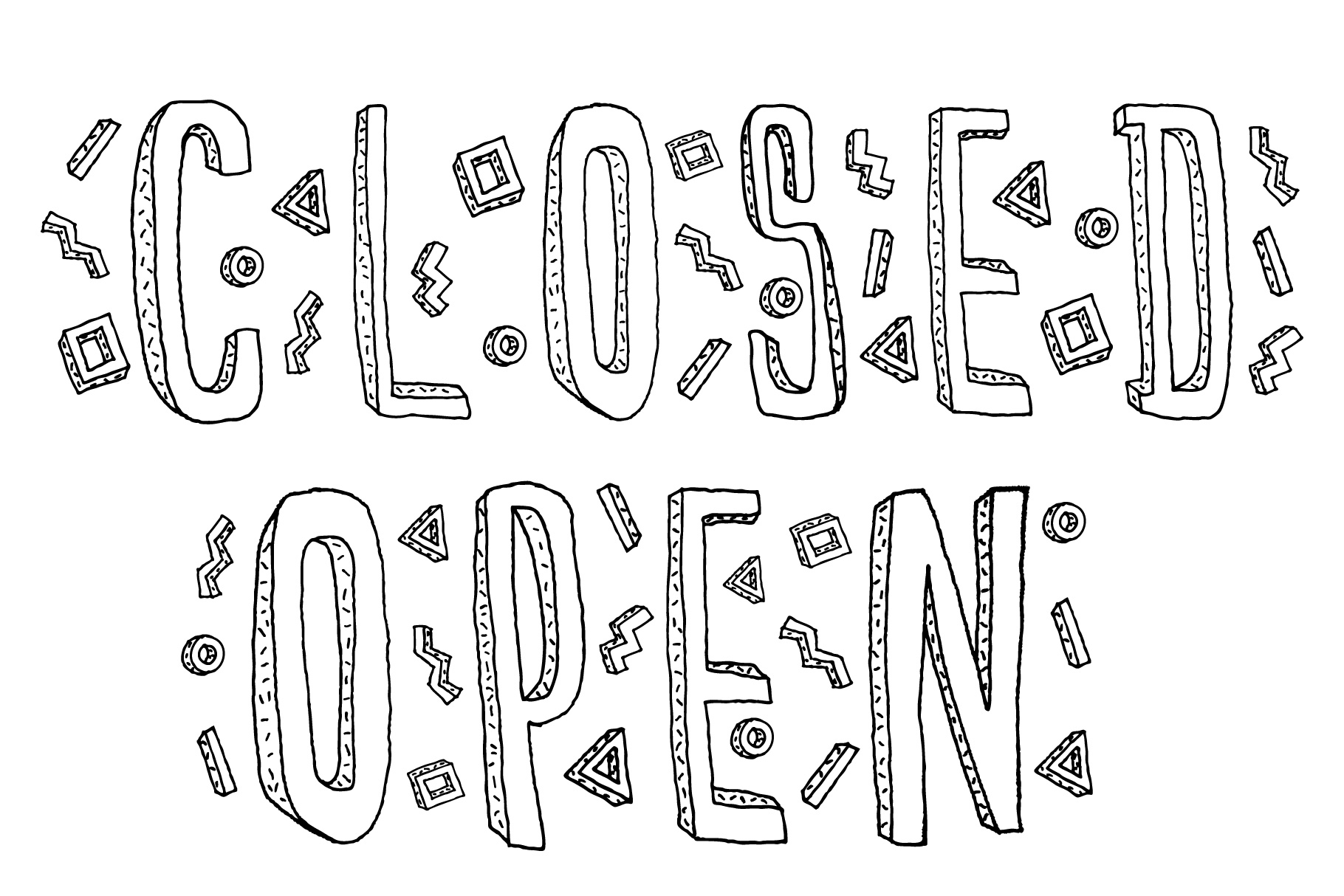 Closed and Open sign. Hand drawn doodle cartoon inscription. example image 1