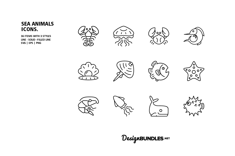 Sea Animals Icons example image 2