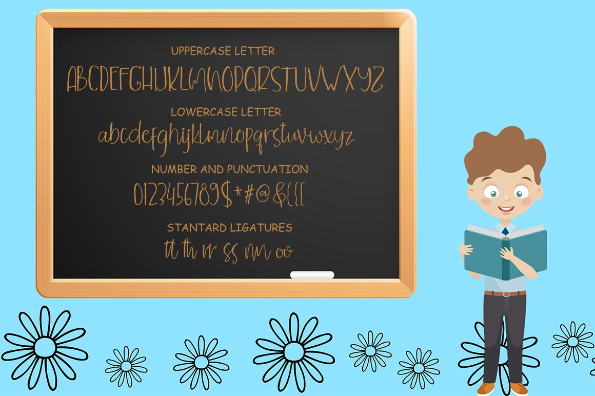 Children Funny Cute Handwritten Font With Extras example image 3
