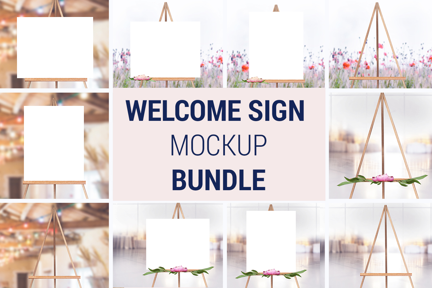 Easel Mockup BUNDLE, Welcome sign, Wedding Sign Mockup, 996 example image 1