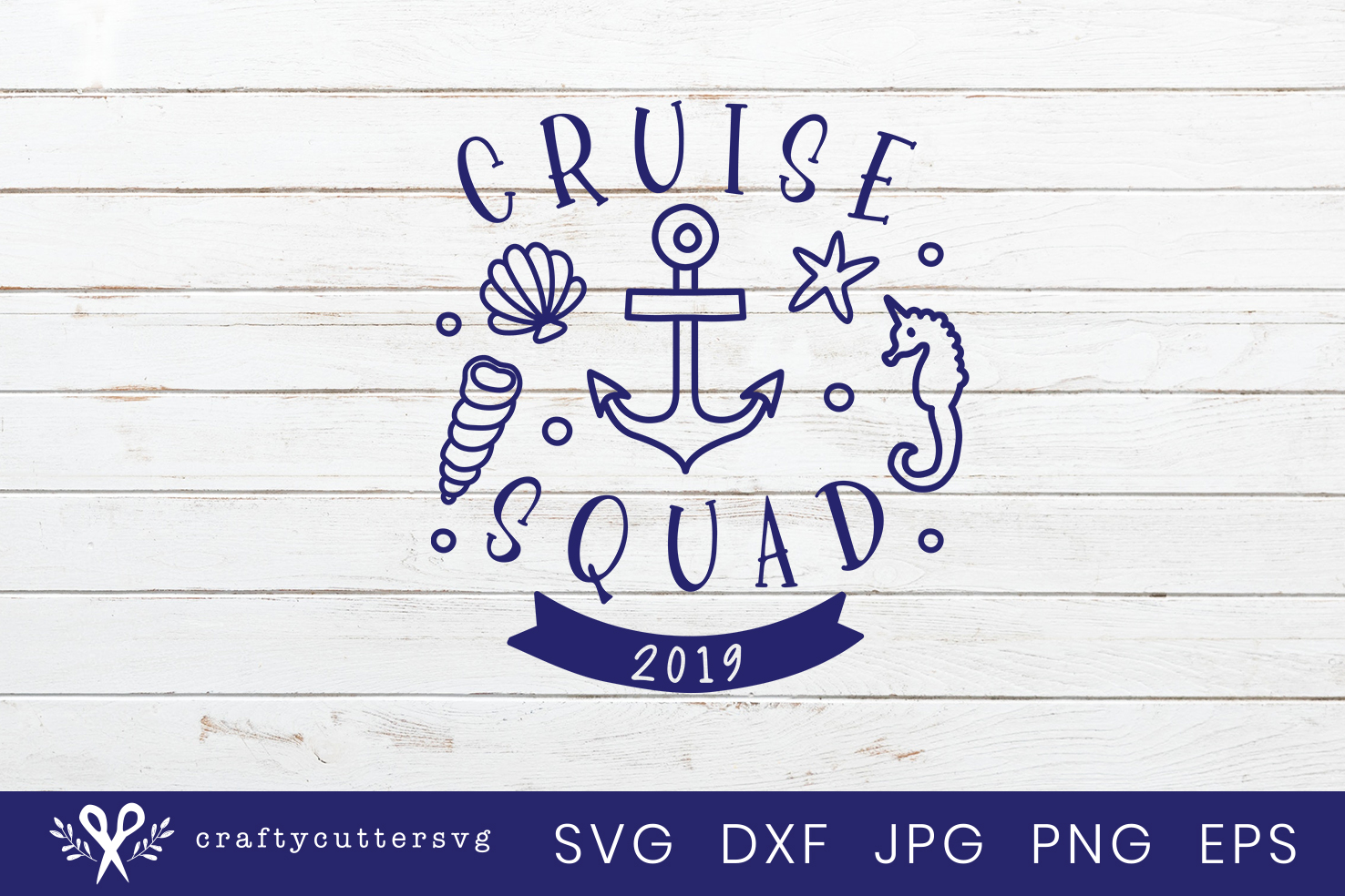 Cruise squad 2019 Svg Cut File Anchor Seahorse Clipart example image 2