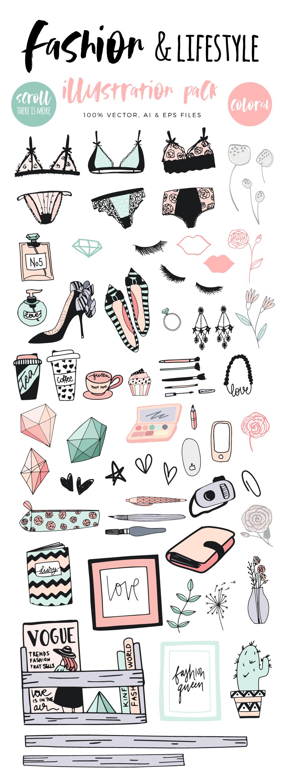 Fashion/Lifestyle illustration pack example image 5