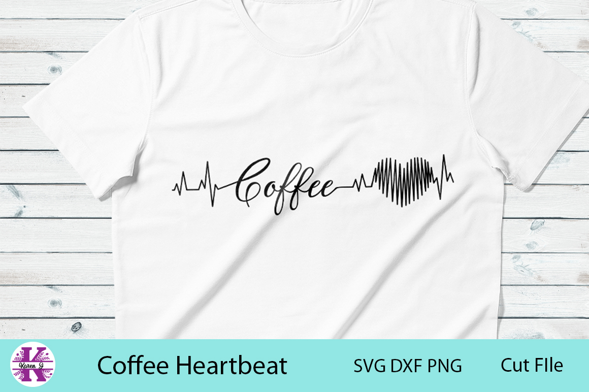 Coffee Heartbeat-SVG DXF PNG- For Crafters example image 1