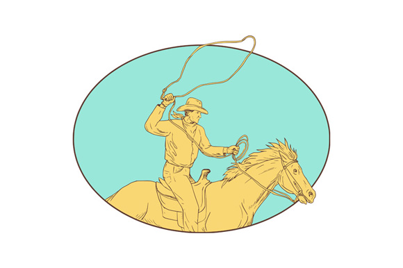 Rodeo Cowboy Lasso Horse Circle Drawing example image 1