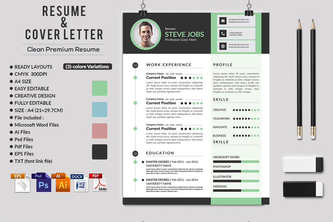 12 Clean Rsume Invoice and Letterhead Bundle example image 10
