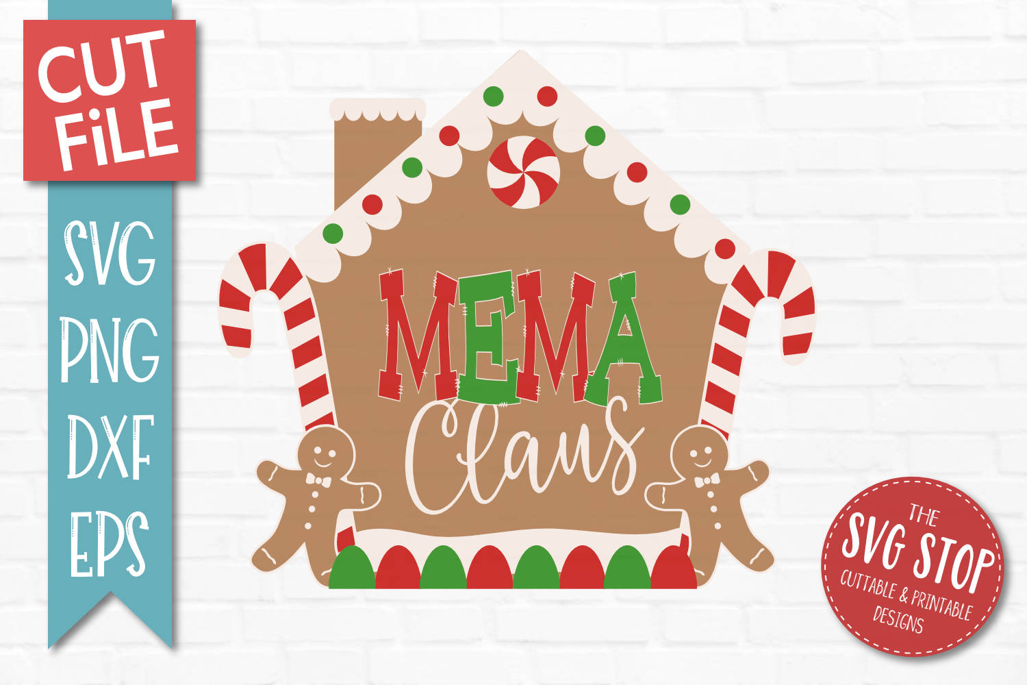 Mema Claus Gingerbread Christmas SVG, PNG, DXF, EPS example image 1
