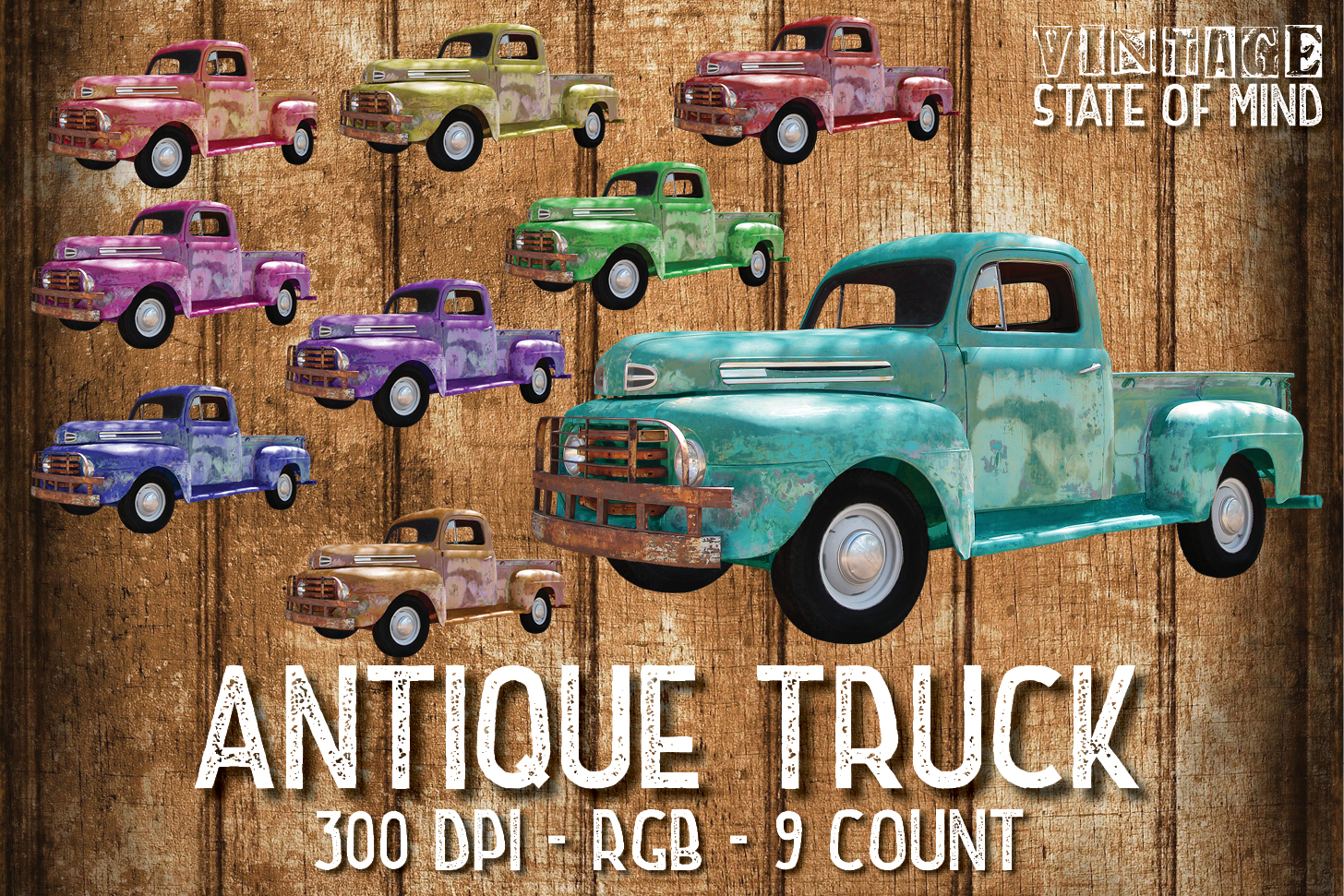 Antique Truck Sublimation Graphics example image 1